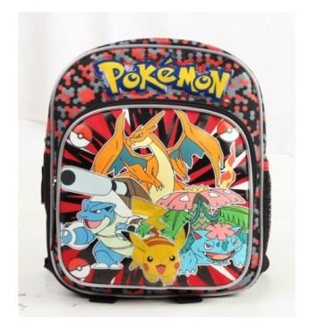 Nintendo Pokemon Pikachu Plusle & Minun 10 Canvas Black School Backpack-Red