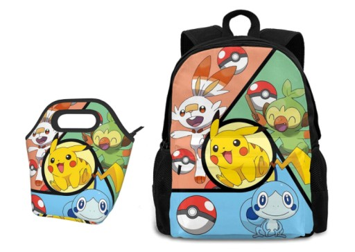 Pokemon Anime Cartoon Backpack Lunch Bag