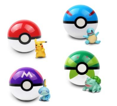 4Pcs Collectible Pokeball Gashapon with Pokemon Figures