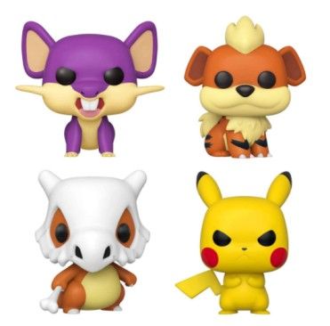 Funko Pop! Bundle of 4: Pokemon - Rattata, Cubone, Growlithe and Grumpy Pikachu Pokemon Growlithe Action Figures